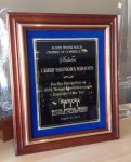 Solid Cherry Frame with Gold Inlay Trim on Black Velour CAST RELIEF PLAQUES