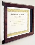 Cherry Finish Slide-in Certificate Plaque Certificate Plaques