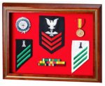 Solid Cherry Flag Case / Shadow Box Glass Plaques