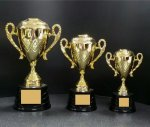 CTDC Cup Series  with Figure on Sculpted Round Black Base GOLD CUP TROPHIES