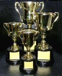 MCC1 Cup Series  with Figure on Sculpted Round Black Base GOLD CUP TROPHIES