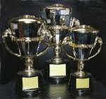 CTRC Cup Series with Figure on Sculpted Round Black Base  GOLD CUP TROPHIES